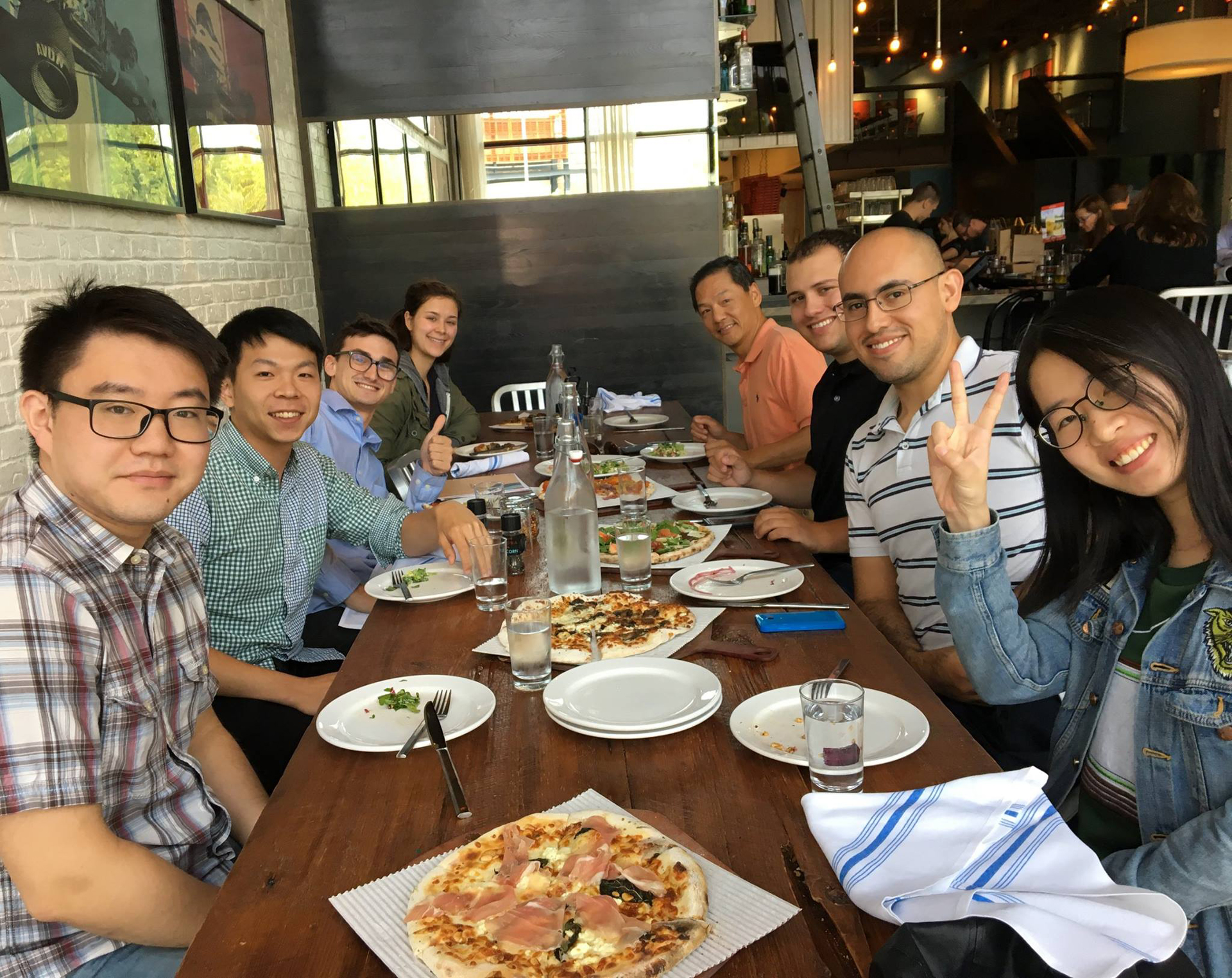 Logic team having group lunch