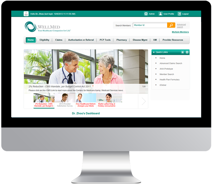 WellMed electronic provider resource gateway (ePRG) desktop view