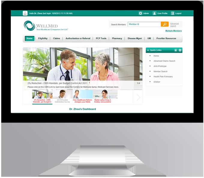 WellMed electronic provider resource gateway (ePRG) desktop view
