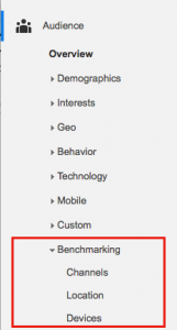 Find Benchmarking report under Audience > Overview > Benchmarking