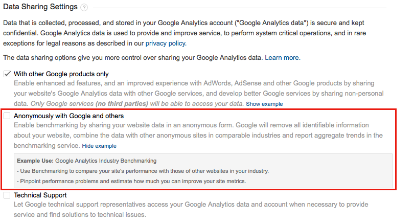 share your data anonymously with google
