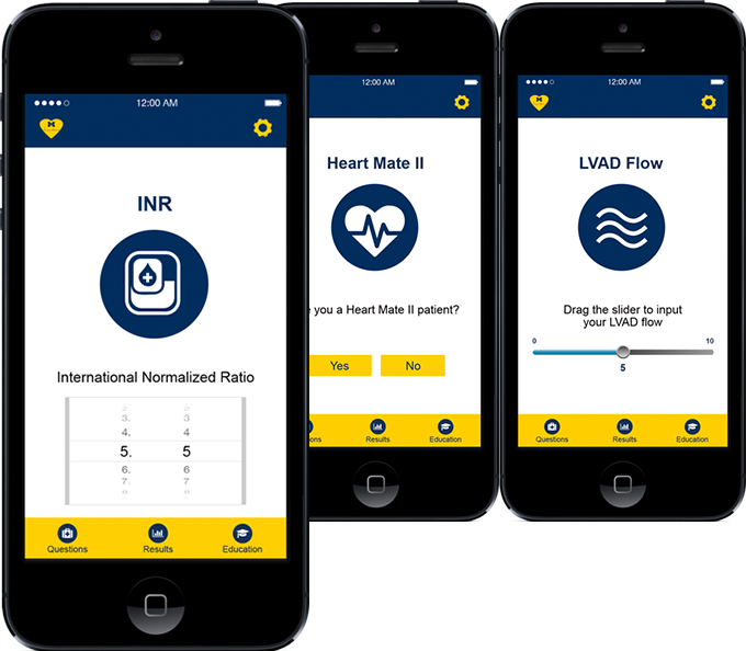 LVAD patient monitoring mobile app screen