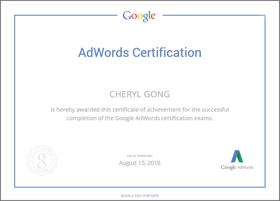 Cheryl-Gong-AdWords-Certificate