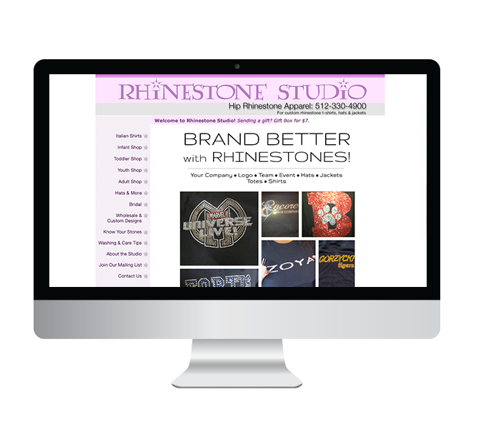 Rhinestone Studio's site before the redesign