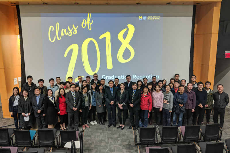 Jimmy Hsiao presented a speech at the UM-SJTU Joint Institute's commencement ceremony on April 27, 2018.