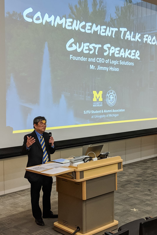 Logic Solutions' CEO, Jimmy Hsiao invited as a guest speaker at UM-SJTU's commencement