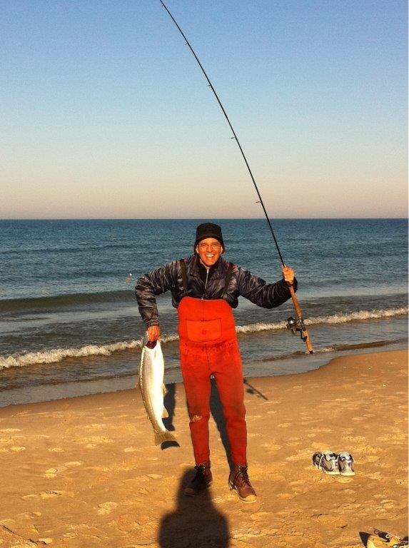 Al Carpinelli went fishing at the beach