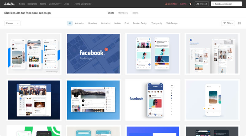 Screenshot of various Facebook redesign examples of Dribble