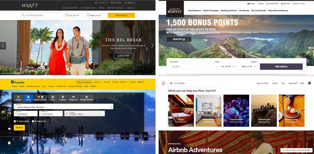 Screenshot comparison of Hyatt, Mariott, Expedia, and Airbnb