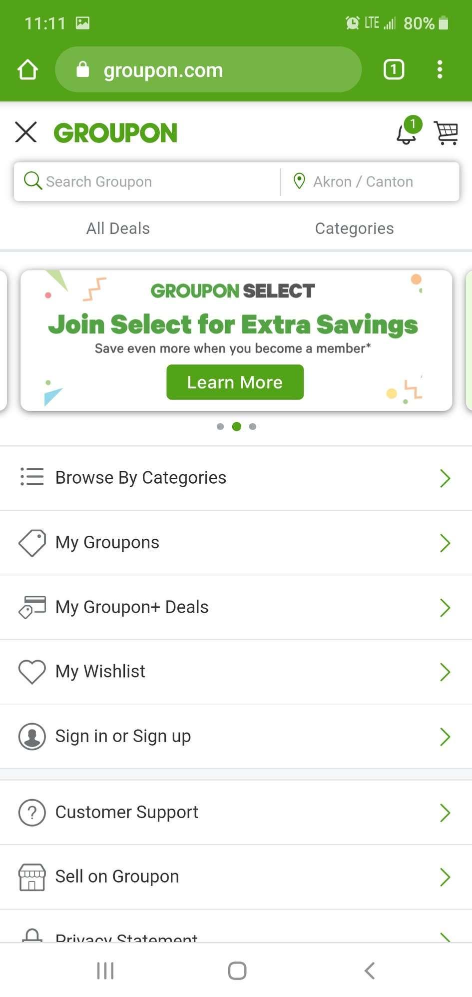Screenshot from Groupon