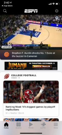 Screenshot from ESPN