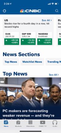 Screenshot from CBS Sports app