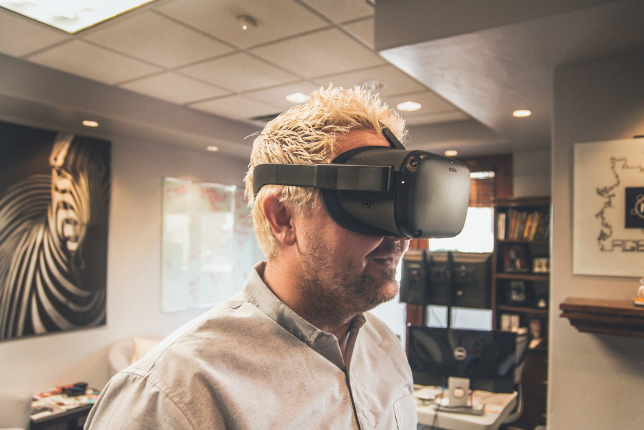 a man wearing a vr headset